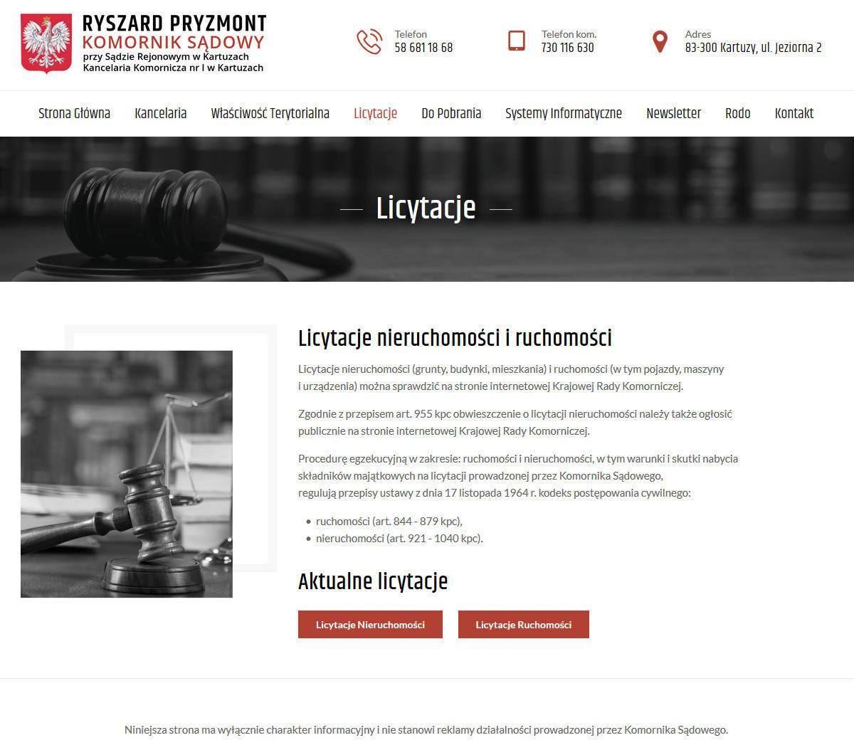 Kartuzy - komornik Ryszard Pryzmont